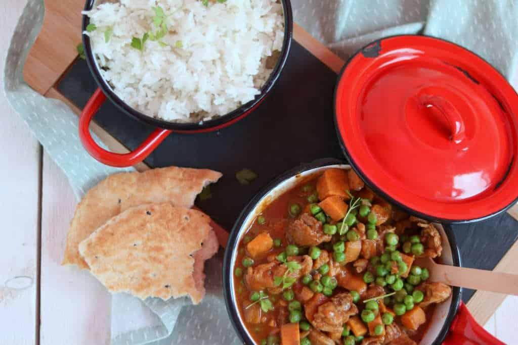 kip curry met zoete aardappel