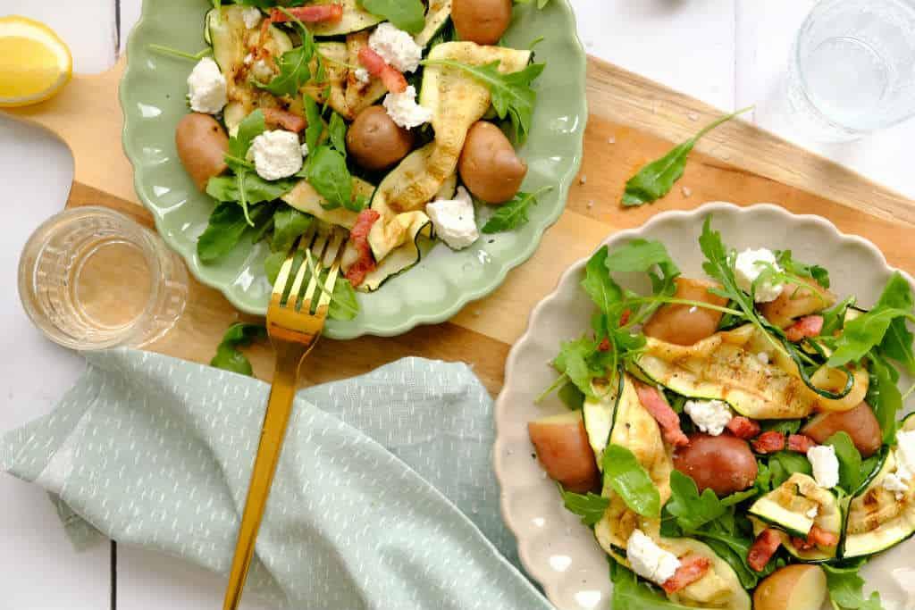 Geitenkaas salade met gegrilde courgette