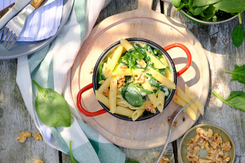 Penne met spinazie en gorgonzola