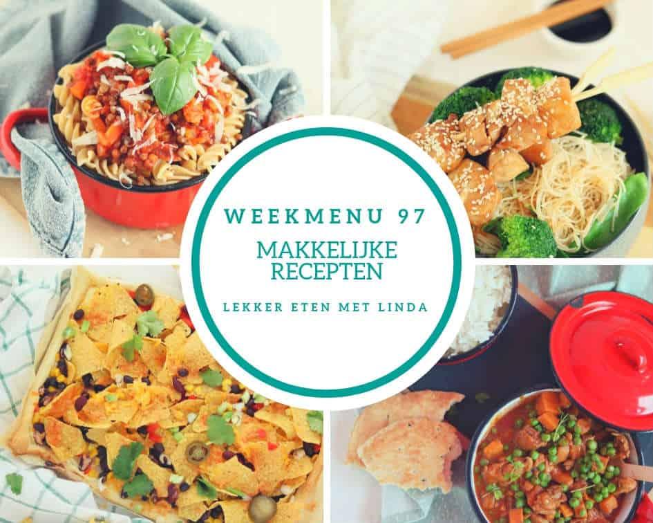 Weekmenu 97 met een linzen bolognese pasta, Indische gehaktballetjes bij een stamppot, kip curry en een feestelijk nacho plaattaart.