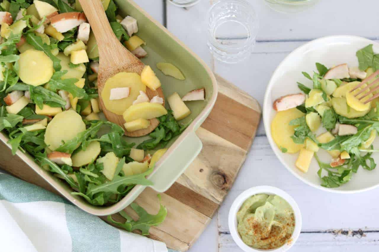 Aardappelsalade met avocadodressing