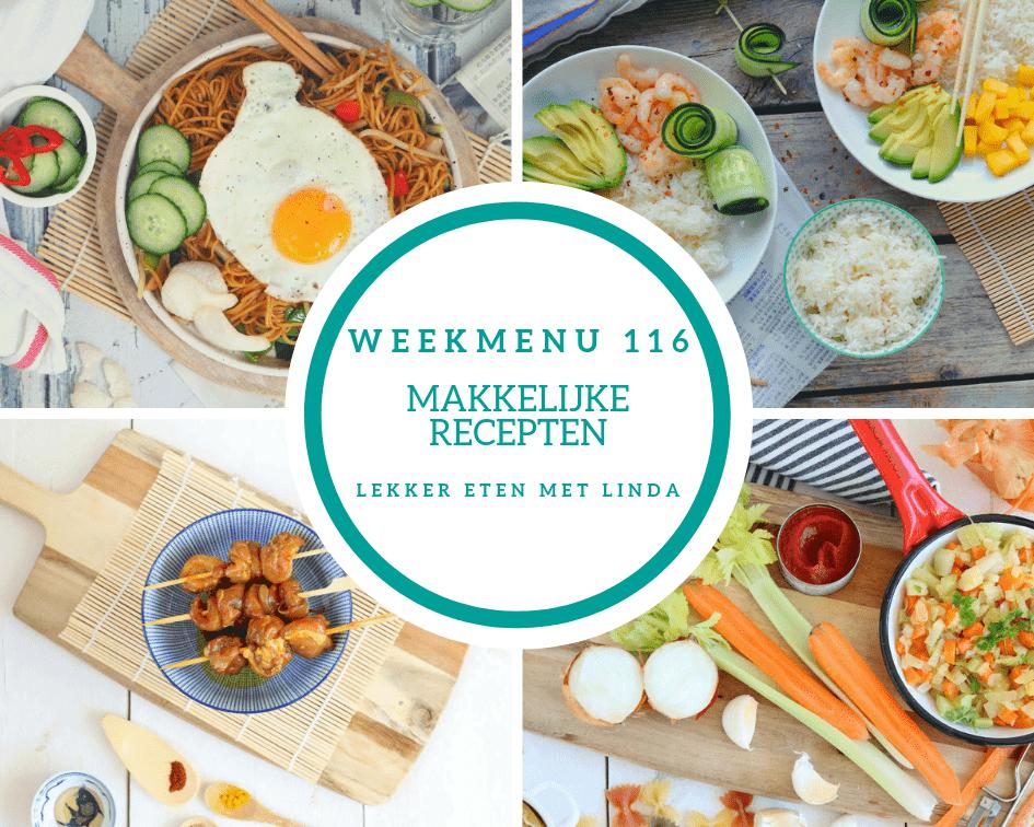 Weekmenu 116 makkelijke recepten voor het hele gezin met een snelle bami, rijstsalade met garnalen met mango en saté.