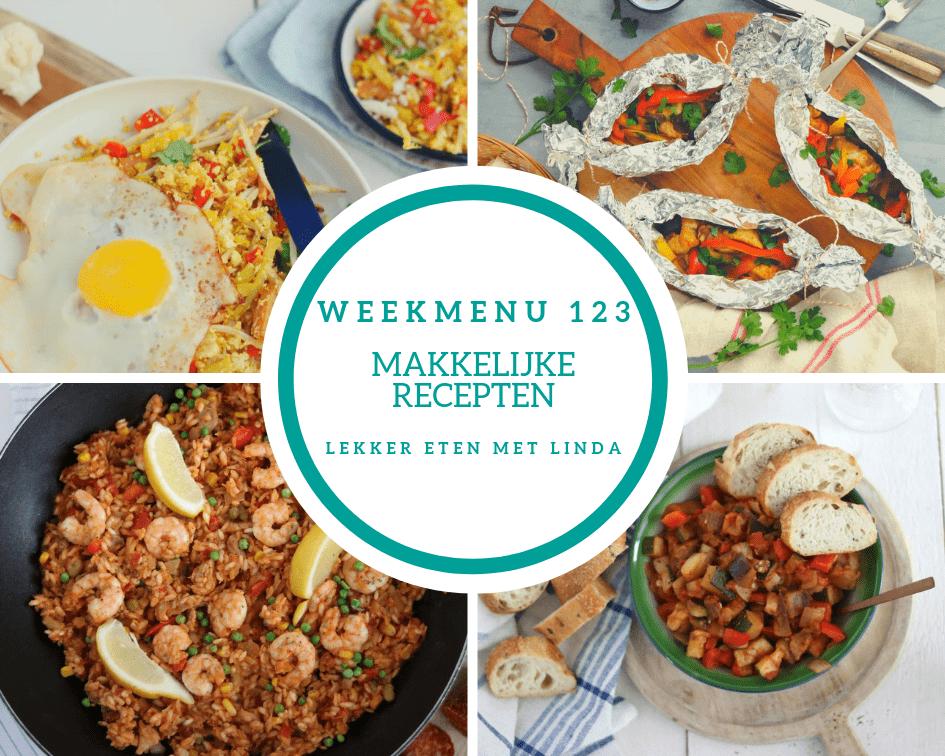 Weekmenu 123 met makkelijke recepten geschikt voor het hele gezin zoals kip pakketjes uit de oven, bloemkool nasi, paealla en een rucola stamppot