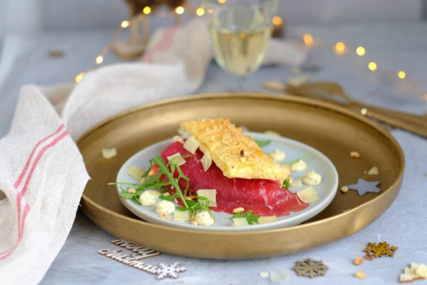 Carpaccio tompouce met truffel mayonaise