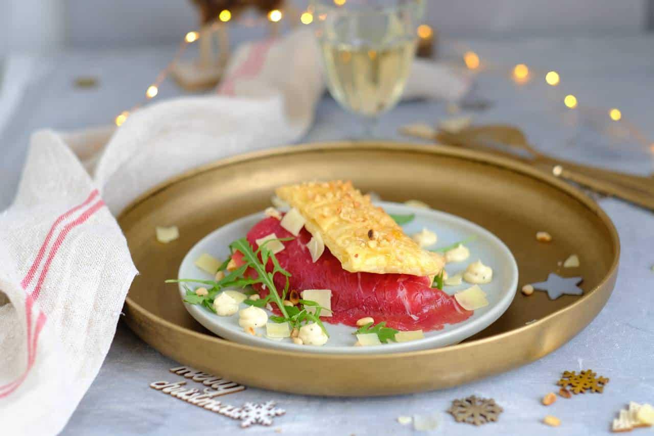 Carpaccio tompouce met truffel mayonaise