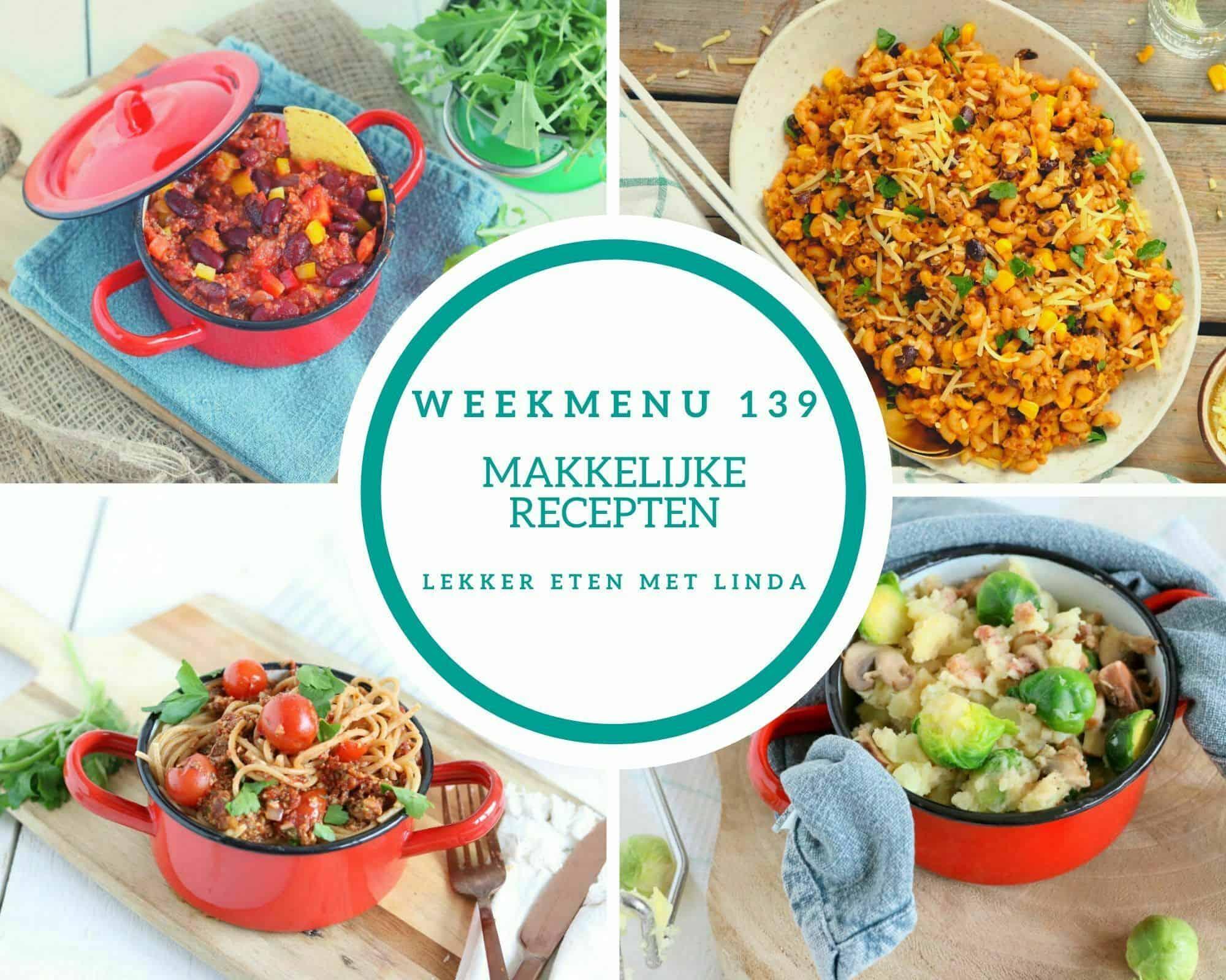 Weekmenu 139 makkelijke maaltijden