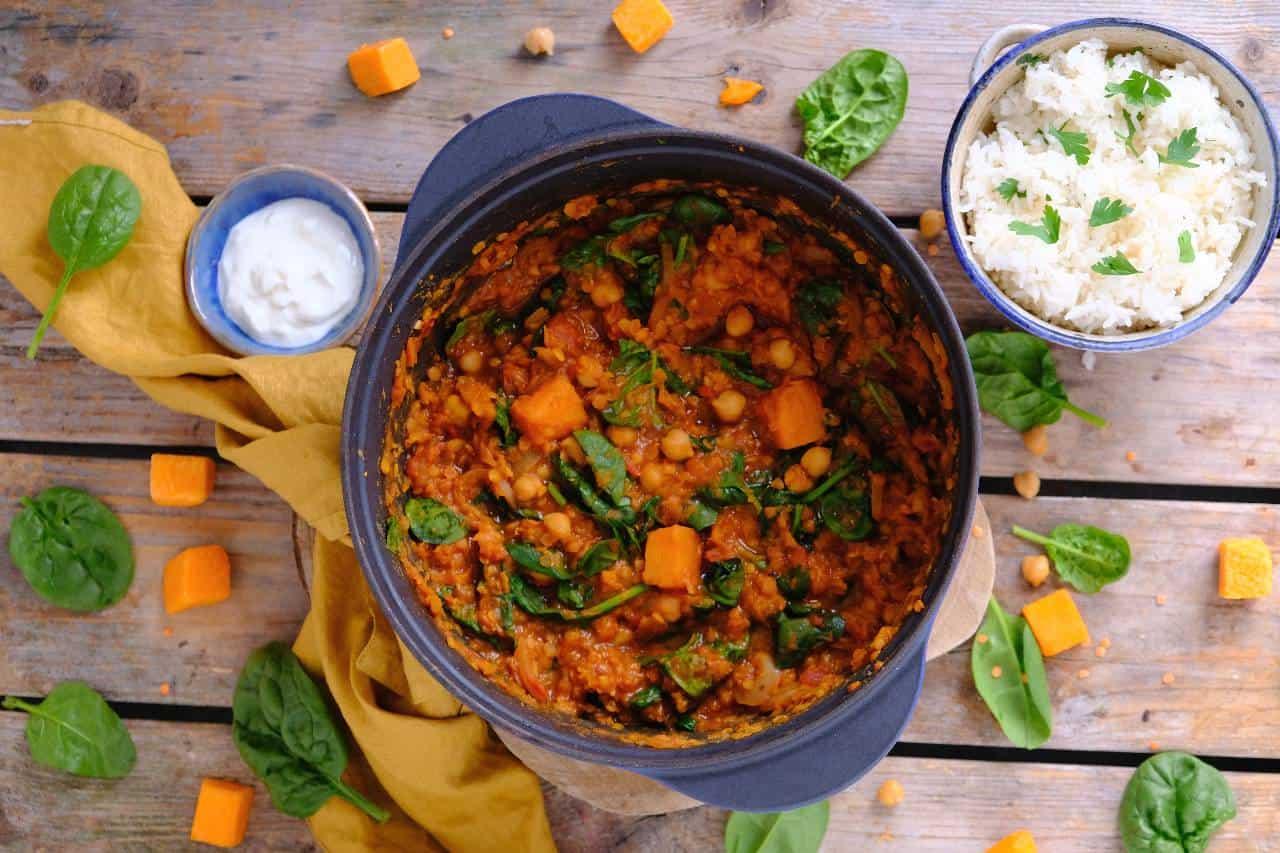 Pompoen curry met linzen en rijst