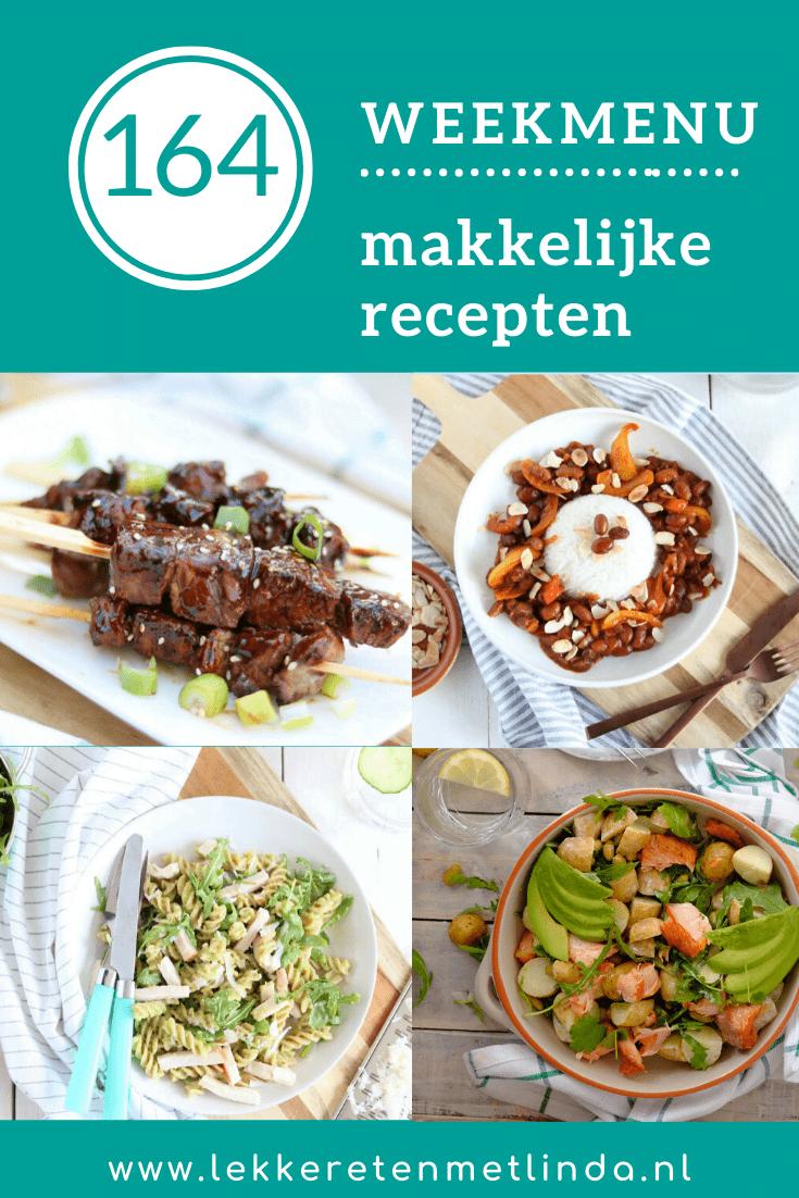 Weekmenu 164 een weekmenu vol met gezonde makkelijke recepten die snel klaar zijn en het hele gezin lust.