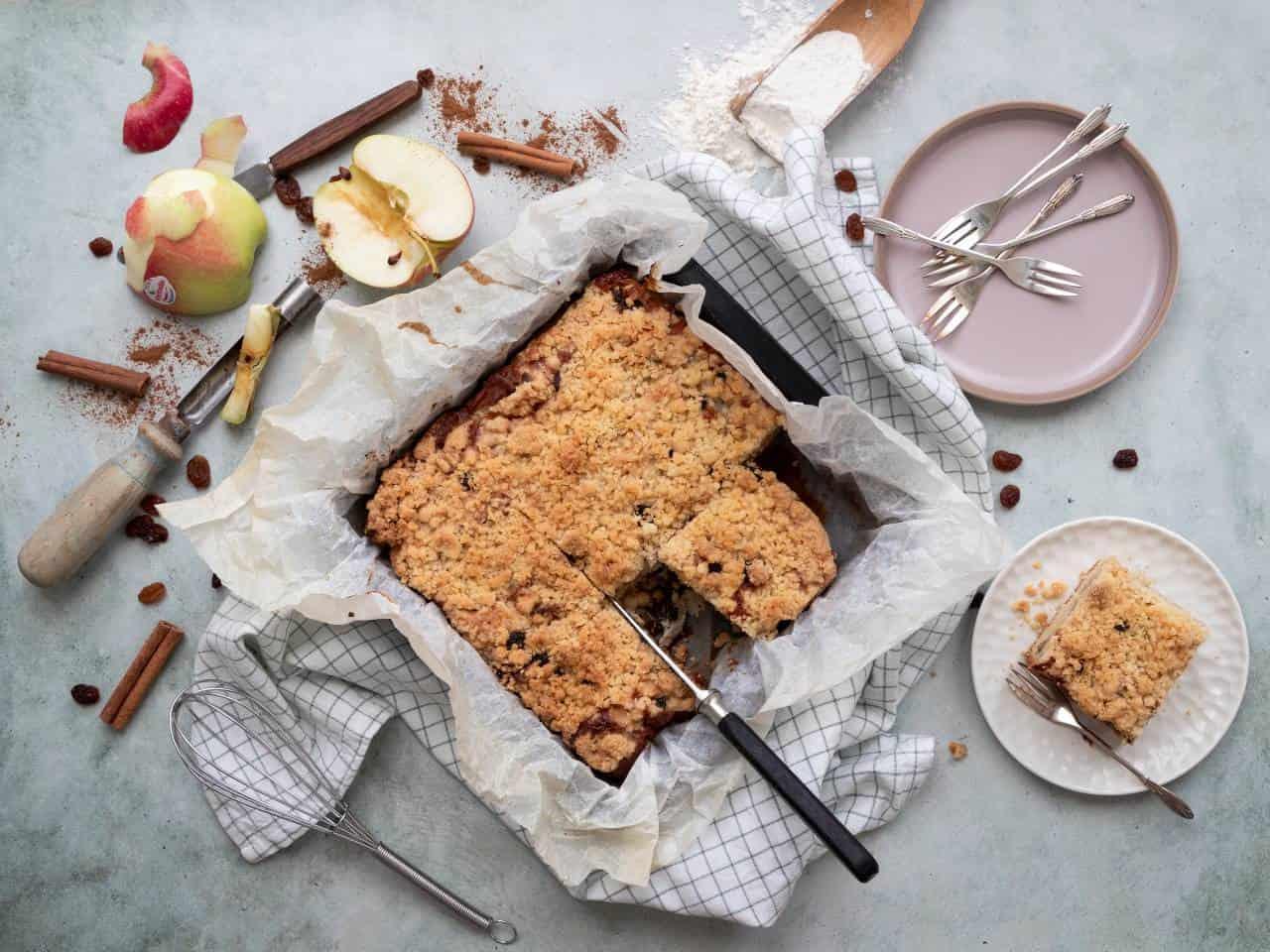 Lekker eten met Linda – appel crumble plaatcake