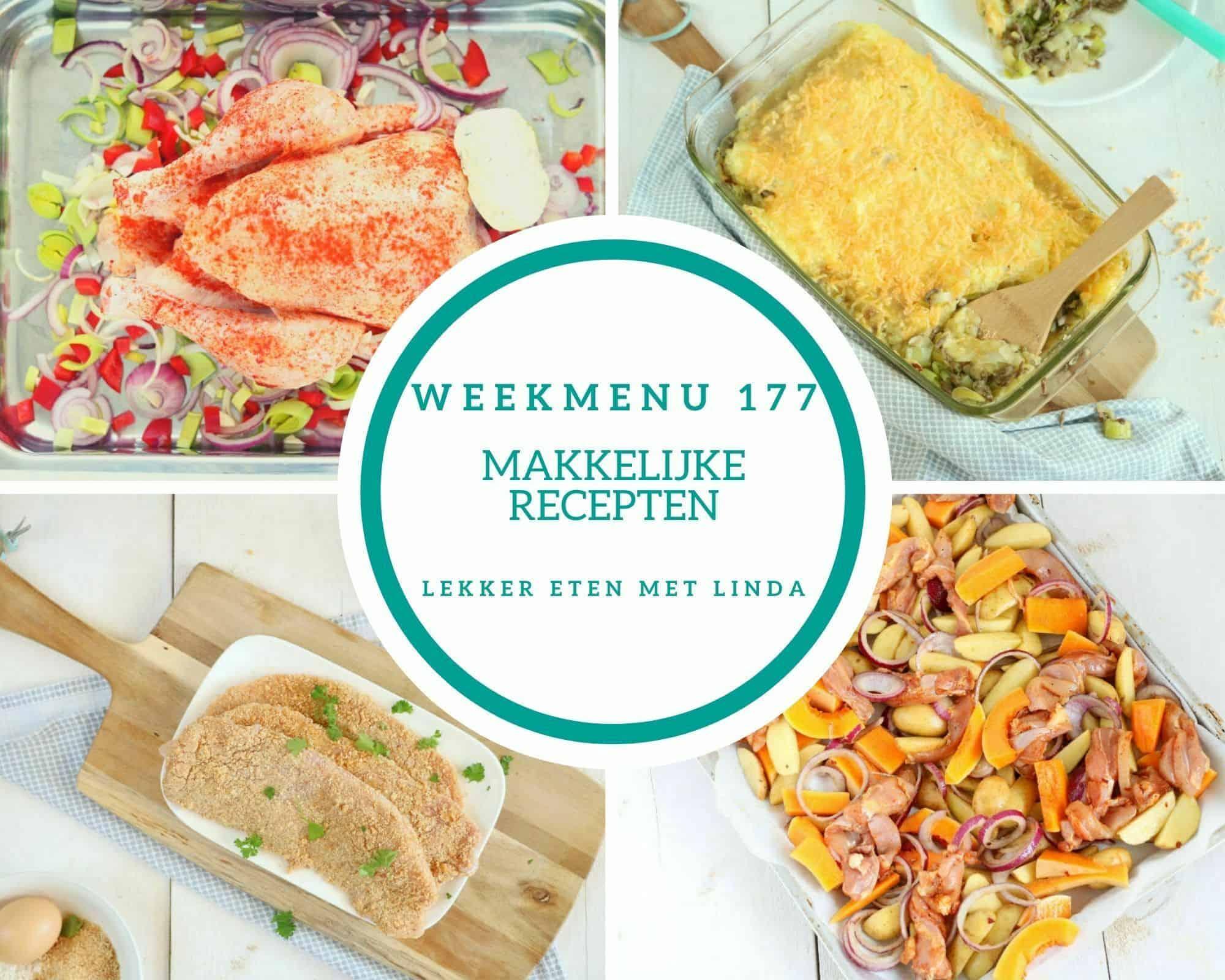 Weekmenu 177 met makkelijke recepten geschikt voor het hele gezin