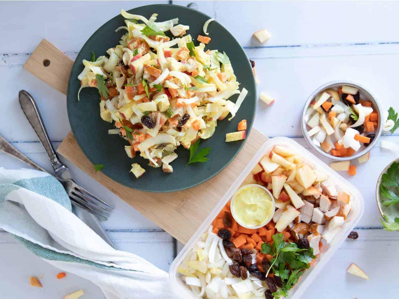 Witlof salade met appel en kip