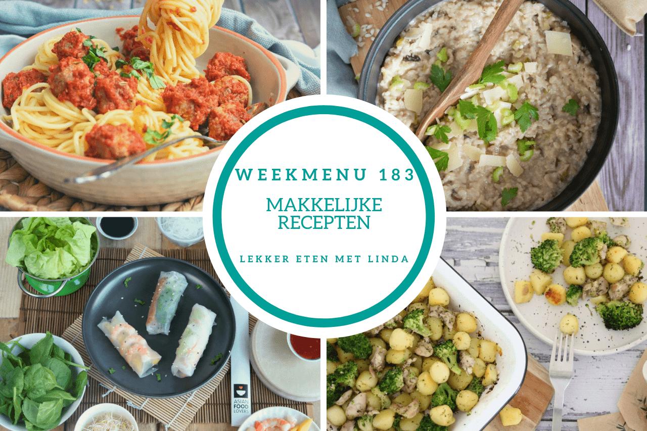 Weekmenu 183 makkelijke recepten