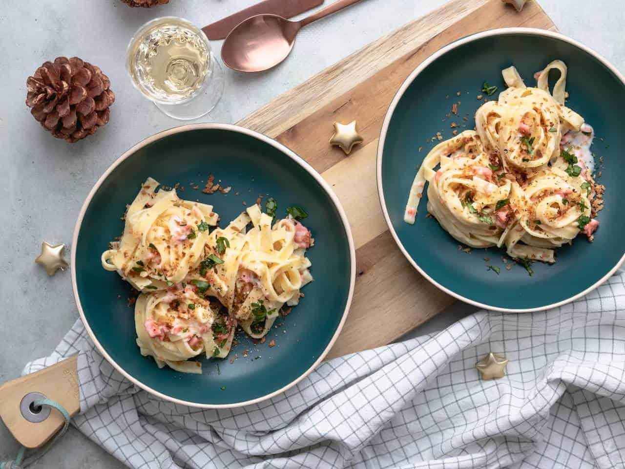 Limoncello pasta met zalm