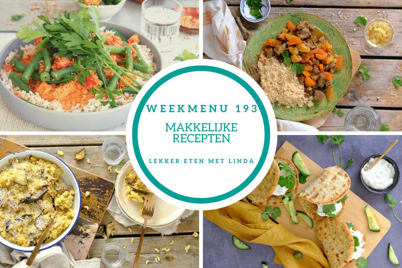 Weekmenu makkelijke recepten 193 met een gezonde mac en cheese, broccoli stamppot, kip tandoori burgers en stoofvlees met abrikozen.