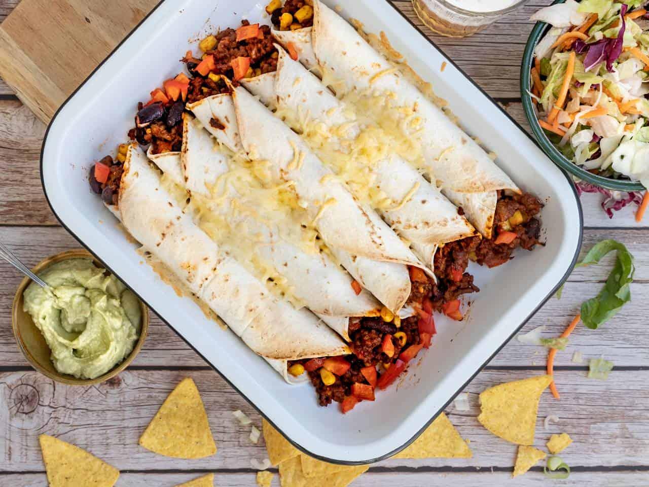 Burrito's met gehakt en bonen