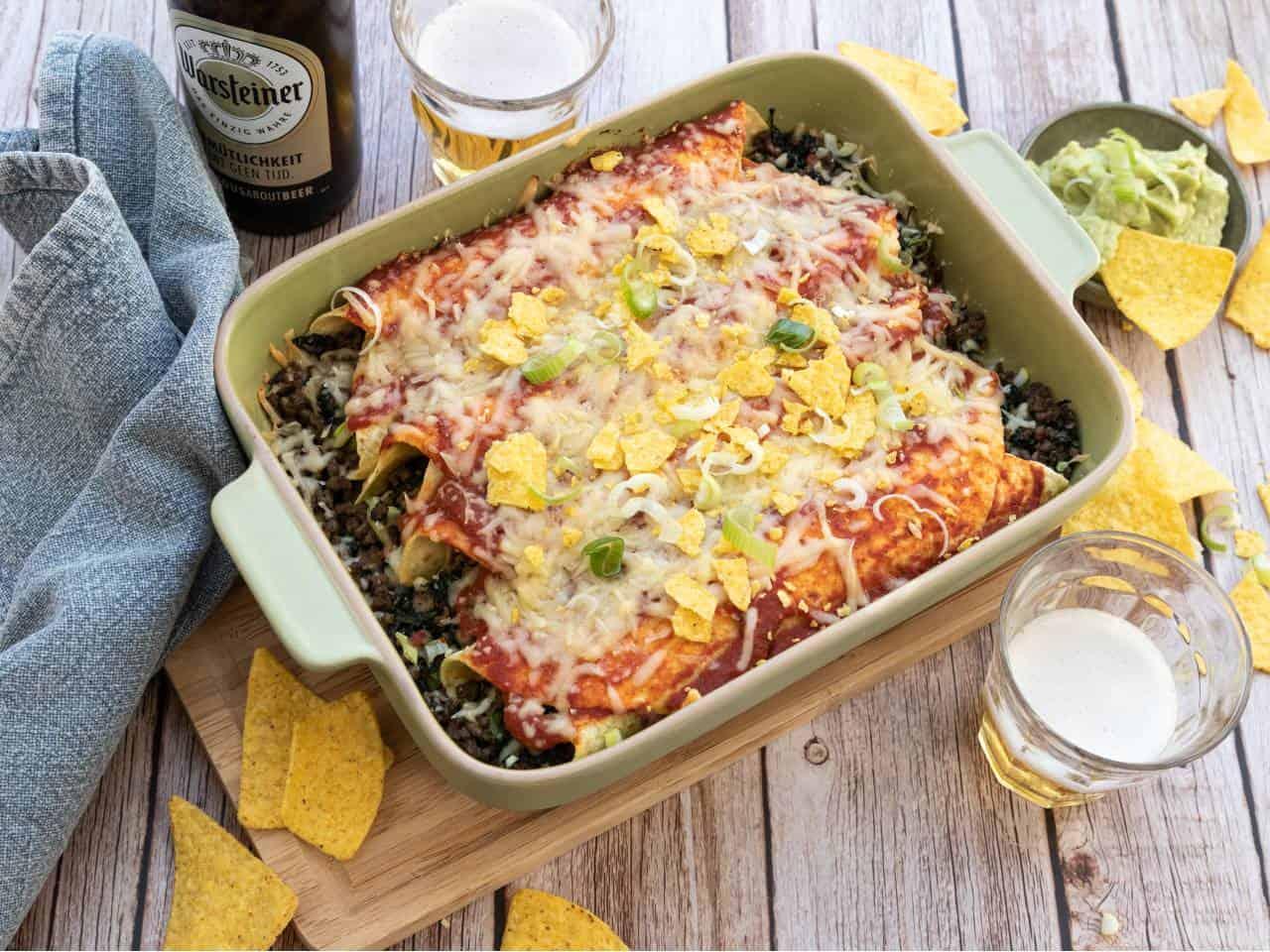 Wraps met gehakt en spinazie uit de oven
