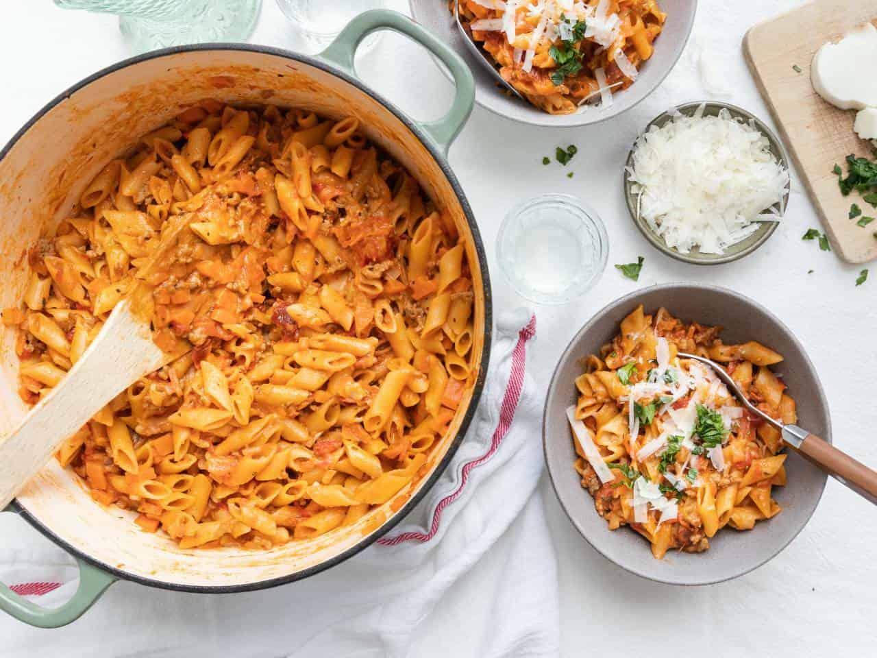 Eenpansgerecht pasta bolognese